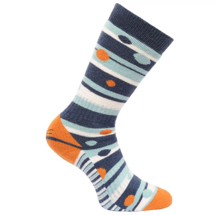 Women's Striped Wellington Socks Dark Denim Golden Oak