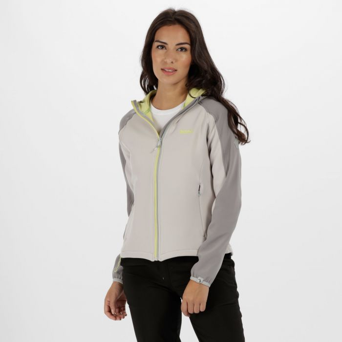 Women's Arec II Hooded Stretch Softshell Jacket Light Steel Lime Fizz
