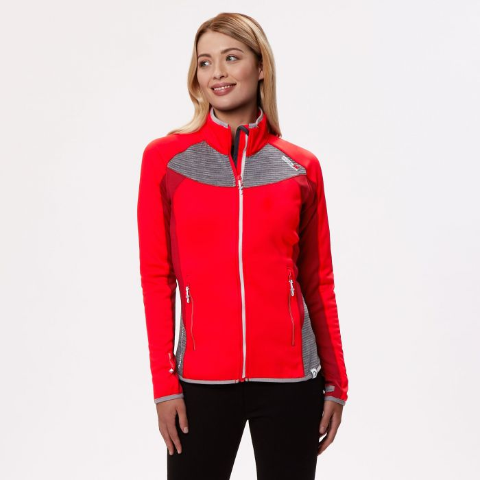 Women's Yare Knitted Stretch Softshell Jacket Red Alert Seal Grey