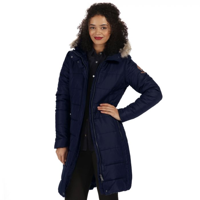 Fermina Long Length Quilted Puffer Parka Jacket Navy