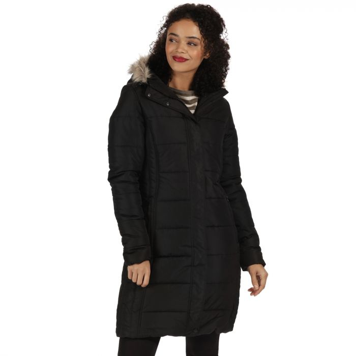 Fermina Long Length Quilted Puffer Parka Jacket Black