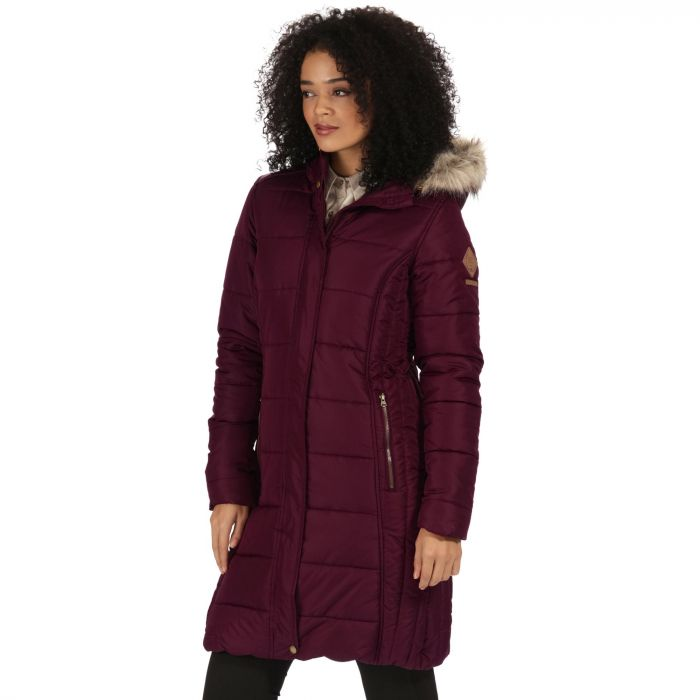 Fermina Long Length Quilted Puffer Parka Jacket Fig