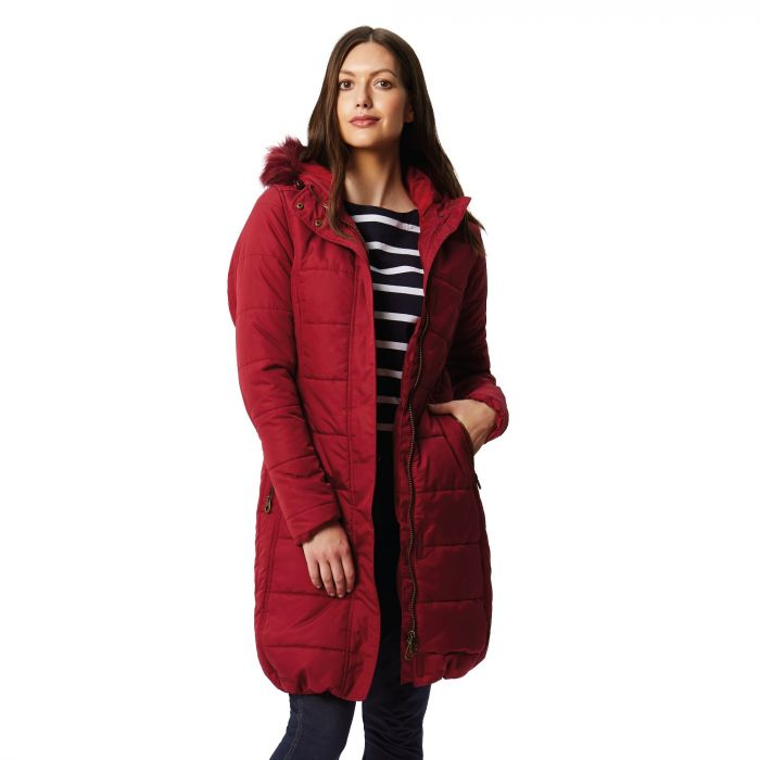 Fermina II Long Length Quilted Puffer Parka Jacket Rumba Red