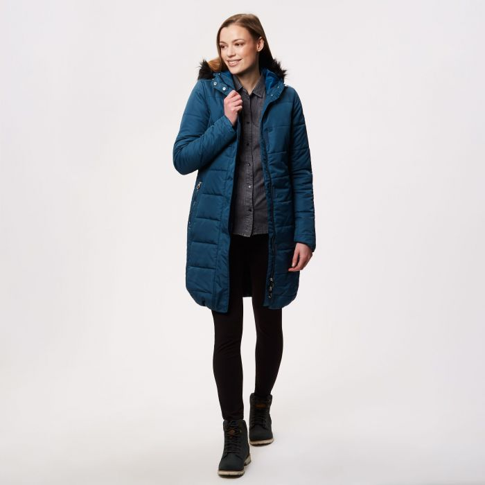 Fermina II Long Length Quilted Puffer Parka Jacket Majolica Blue