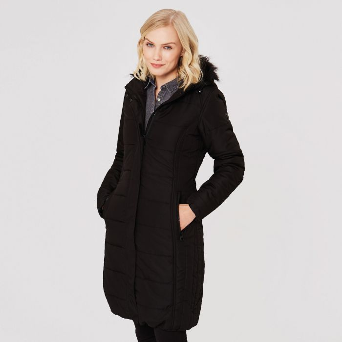 Fermina II Long Length Quilted Puffer Parka Jacket Black