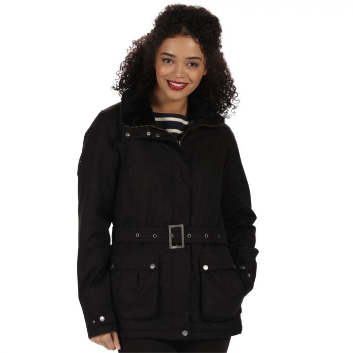 Laurissa Waterproof Insulated Wool Effect Jacket Black