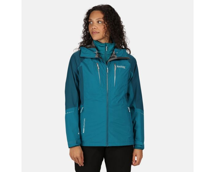 Womens Carletta V 3 In 1 Waterproof Hooded Walking Jacket Ocean Depths Sea Blue