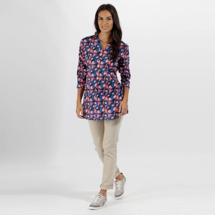 Mackayla All Over Print Coolweave Shirt Navy