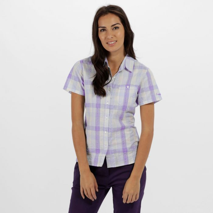 Jenna II Coolweave Cotton Checked Shirt Paisly Purple