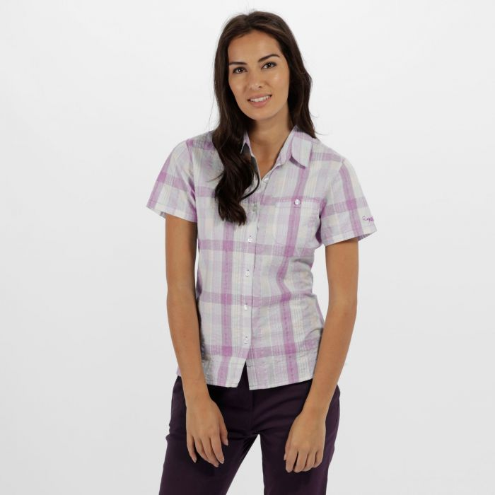 Jenna II Coolweave Cotton Checked Shirt Neon Peach