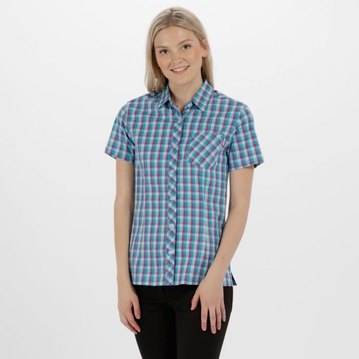 Women's Honshu II Checked Shirt Aqua