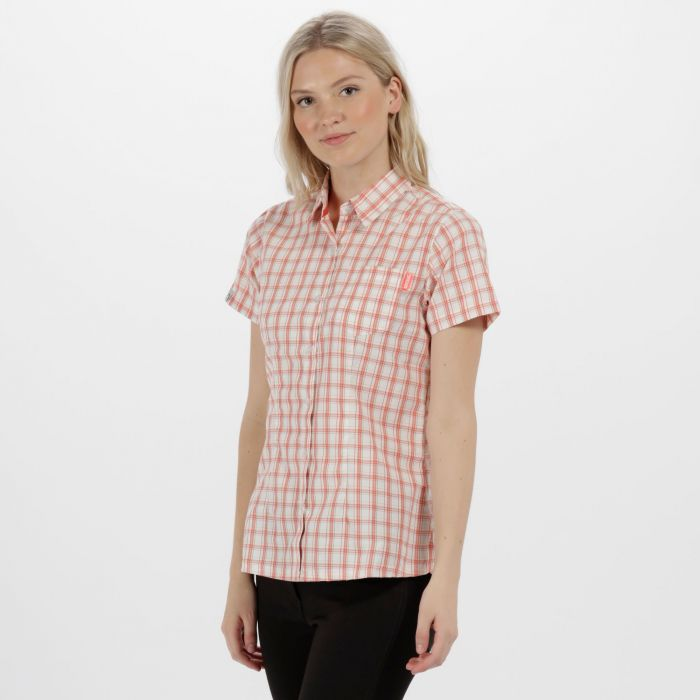 Women's Mindano III Checked Shirt Neon Peach