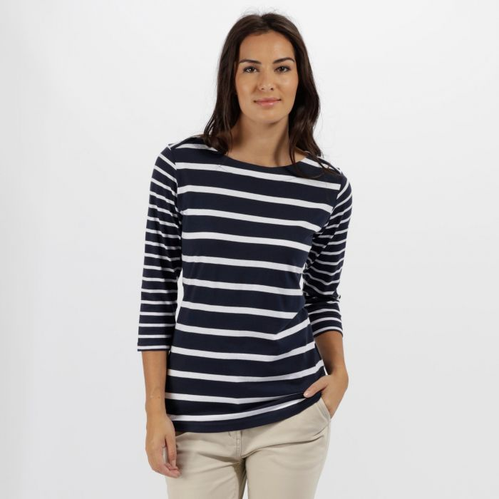 Parris Coolweave Cotton T-Shirt Navy White
