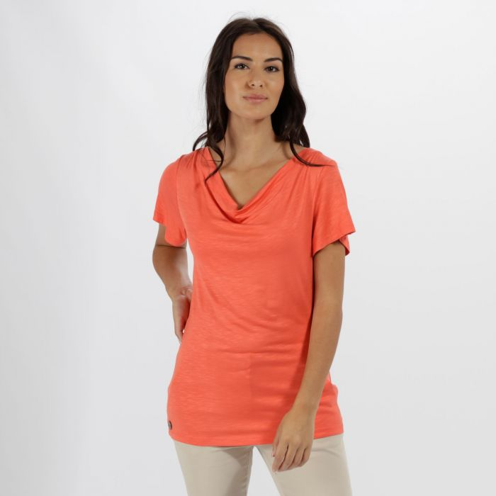 Francheska Coolweave Hybrid T-Shirt Neon Peach
