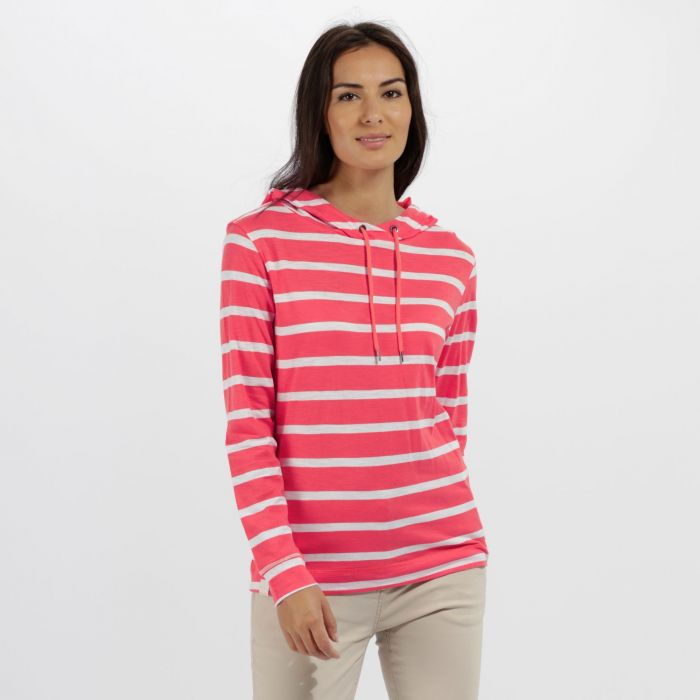 Modesta Hooded Coolweave Cotton Top Hot Pink White