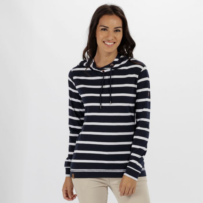 Modesta Hooded Coolweave Cotton Top Navy