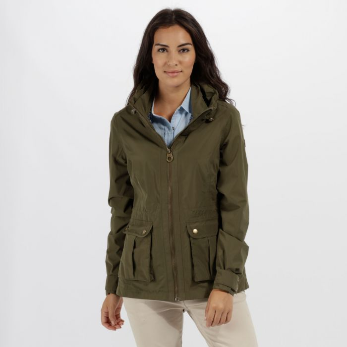 Nardia II Lightweight Waterproof Jacket with Concealed Hood Ivy Green
