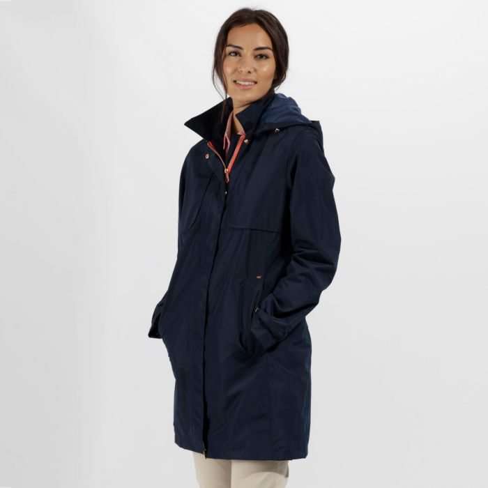 Gracelynn Long Length Lightweight Waterproof Jacket Navy