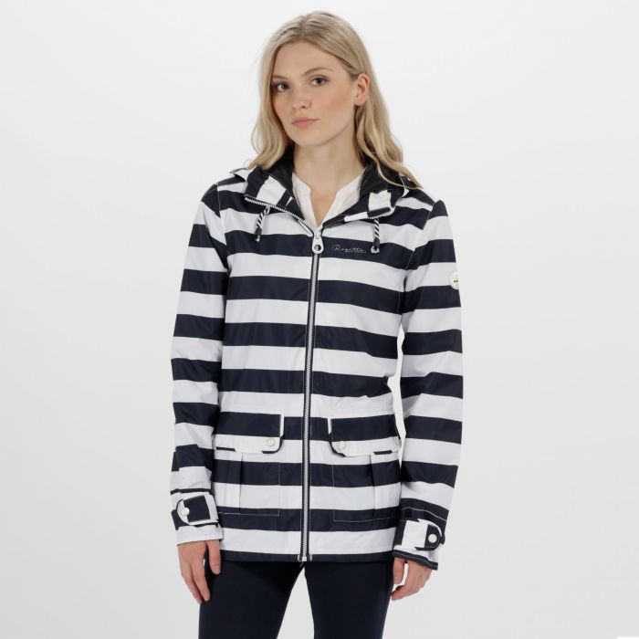 Bayeur II Lightweight Waterproof Hooded Jacket Navy Stripe