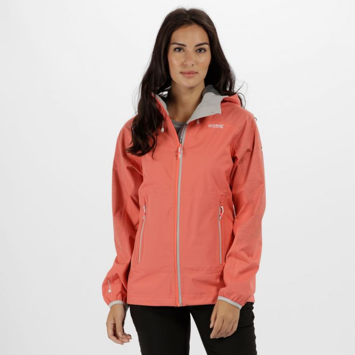 Women's Montegra Reflective Waterproof Jacket Neon Peach