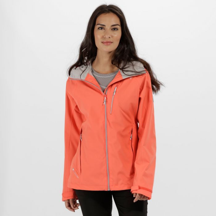 Women's Birchdale Waterproof Hooded Jacket Bright Blush Neon Peach
