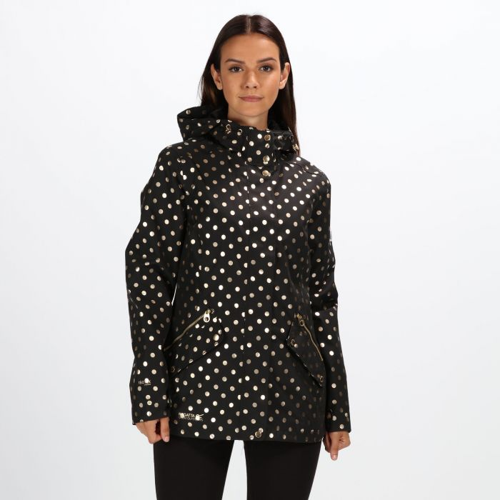 superior performance street price extremely unique Women's Basilia Lightweight Hooded Waterproof Jacket - Black Polka Dot