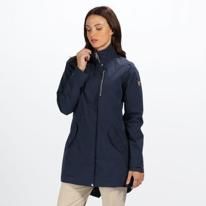 genuine customers first new products Womens Alzea Long Length Waterproof Jacket with Zip Off Hood - Navy