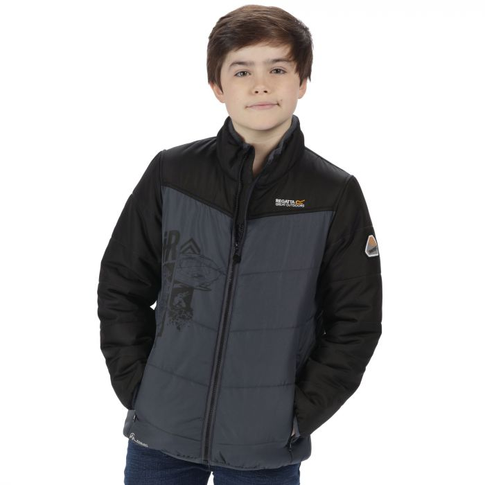 67fcf68b746 Thunderbirds Are Go Kids Recharge Padded Waterproof Jacket with Reflective  Trim Black Seal Grey