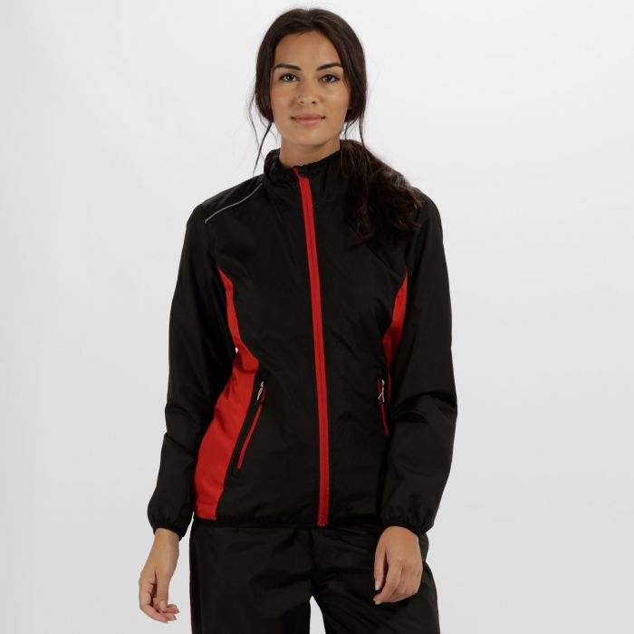 Women's Athens Tracksuit Jacket Black Classic Red