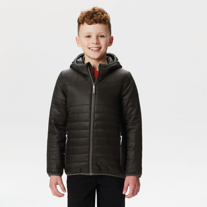 Kids Stormforce Thermal Insulated Hooded Jacket Black