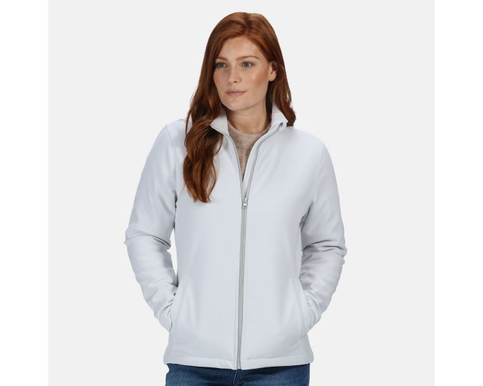 Womens Ablaze Printable Softshell Jacket White Light Steel