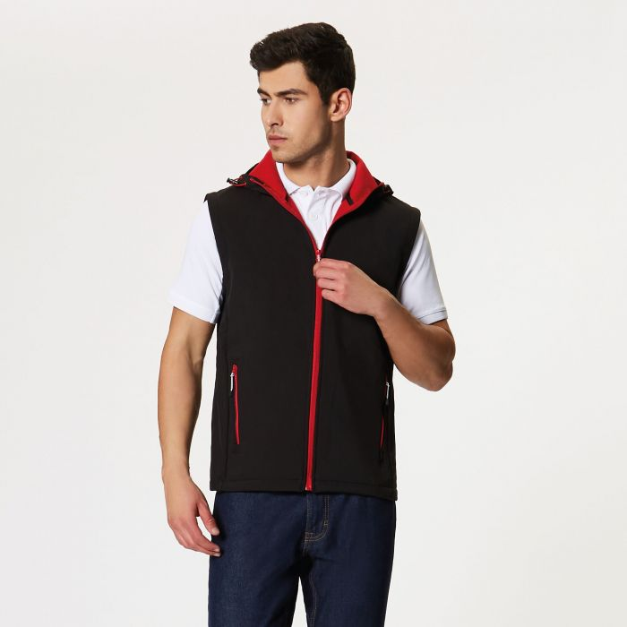 Arley Hooded Softshell Bodywarmer Black Classic Red