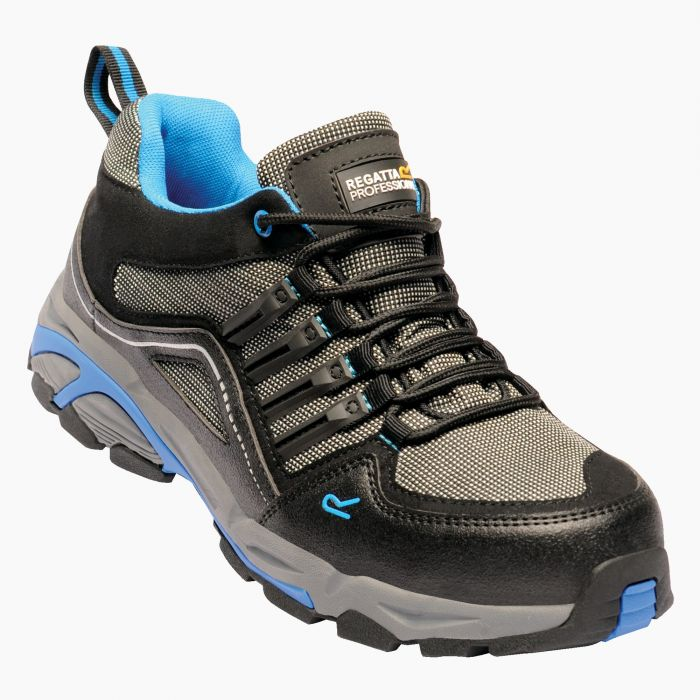 Convex Steel Toe Cap Safety Trainer Black Oxford Blue