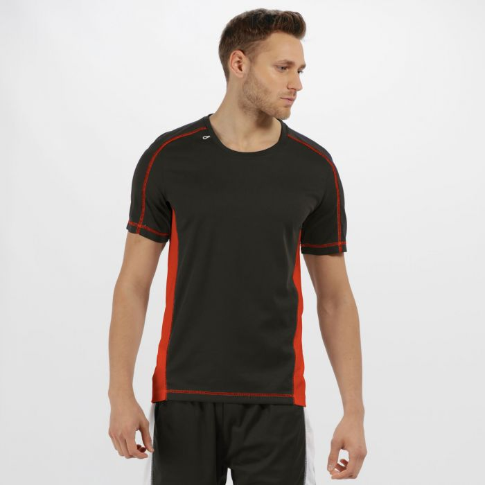 Men's Beijing Lightweight Cool and Dry Sports T-Shirt Black Classic Red