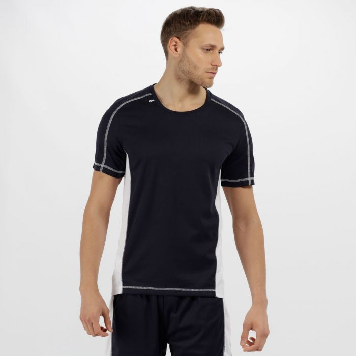 Men's Beijing Lightweight Cool and Dry Sports T-Shirt Navy/White