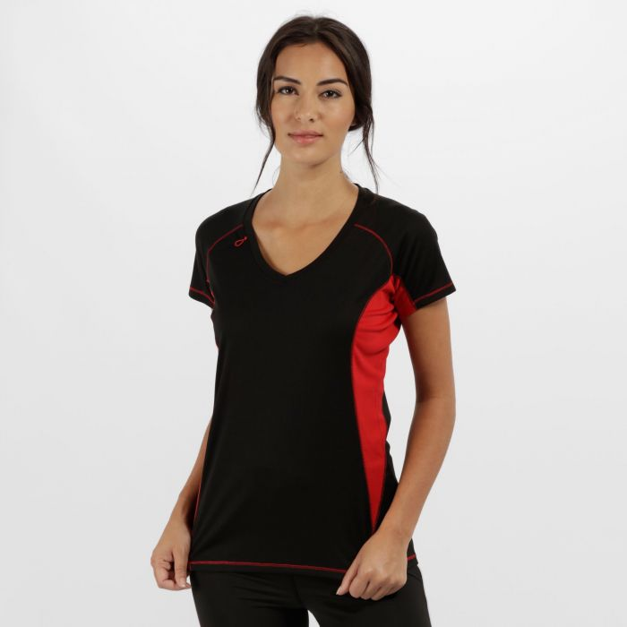 Women's Beijing Lightweight Cool and Dry Sports T-Shirt Black Classic Red