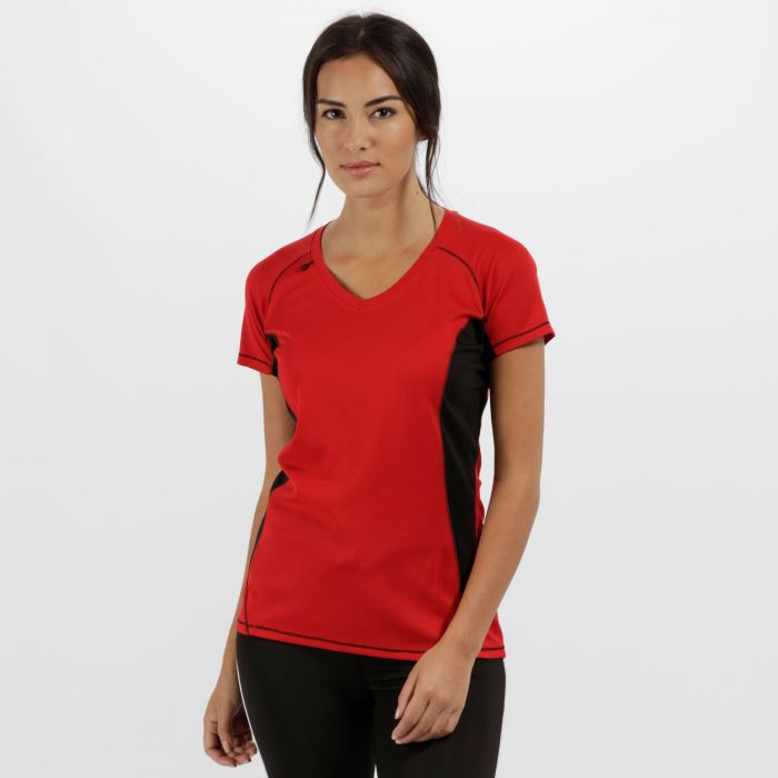 Women's Beijing Lightweight Cool and Dry Sports T-Shirt Classic Red Black