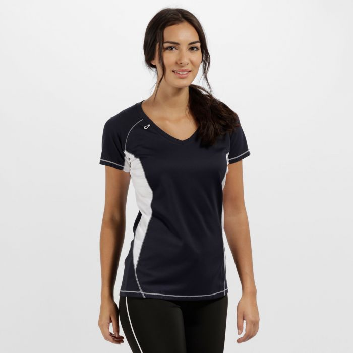 Women's Beijing Lightweight Cool and Dry Sports T-Shirt Navy/White
