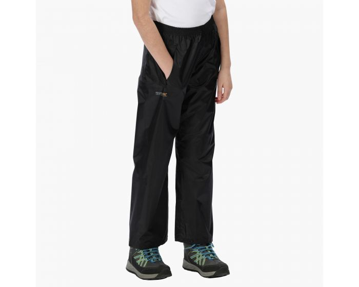 Kids performance waterproof trousers black age 13-14