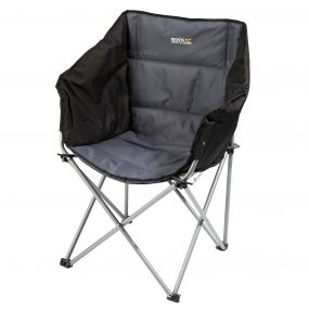 Navas Lightweight Folding Camping Chair with Storage Bag Black Seal Grey