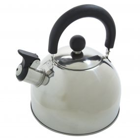 2 Litre Whistle Camping Kettle Stainless Steel Silver