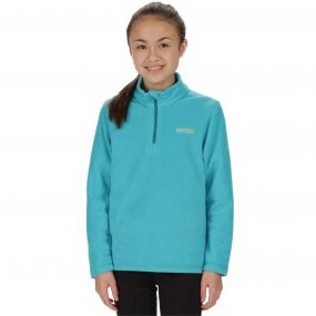 Kids Hot Shot II Half Zip Lightweight Fleece Aqua Enamel