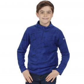 Kids Lovely Jubblie Lightweight Half Zip Fleece Surfspray Blue Cosmic Print