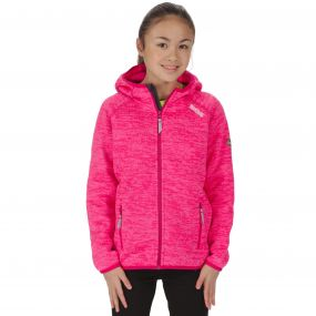 Kids Dissolver Mid Weight Knit Effect Hooded Fleece Bright Blush