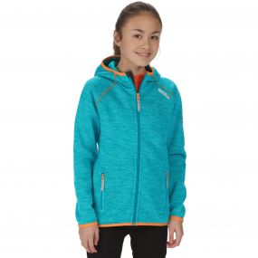Kids Dissolver Mid Weight Knit Effect Hooded Fleece Aqua