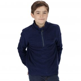 Kids Oaklands Lightweight Half Zip Mini Stripe Fleece Navy