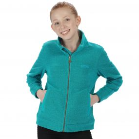 Kids Matterdale Full Zip Honeycomb Fleece Aqua
