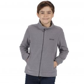 Kids Matterdale Full Zip Honeycomb Fleece Rock Grey