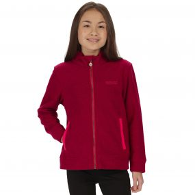 Kids Matterdale Full Zip Honeycomb Fleece Dark Cerise
