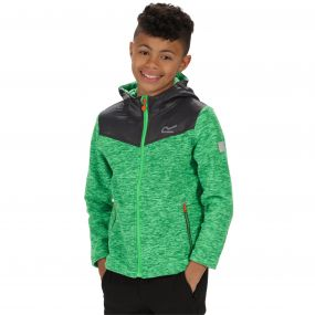 Kids Atomizer Mid Weight Hooded Marl Fleece Fairway Green Seal Grey